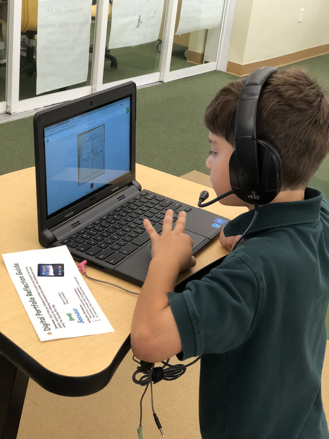 Student creating a digital portfolio