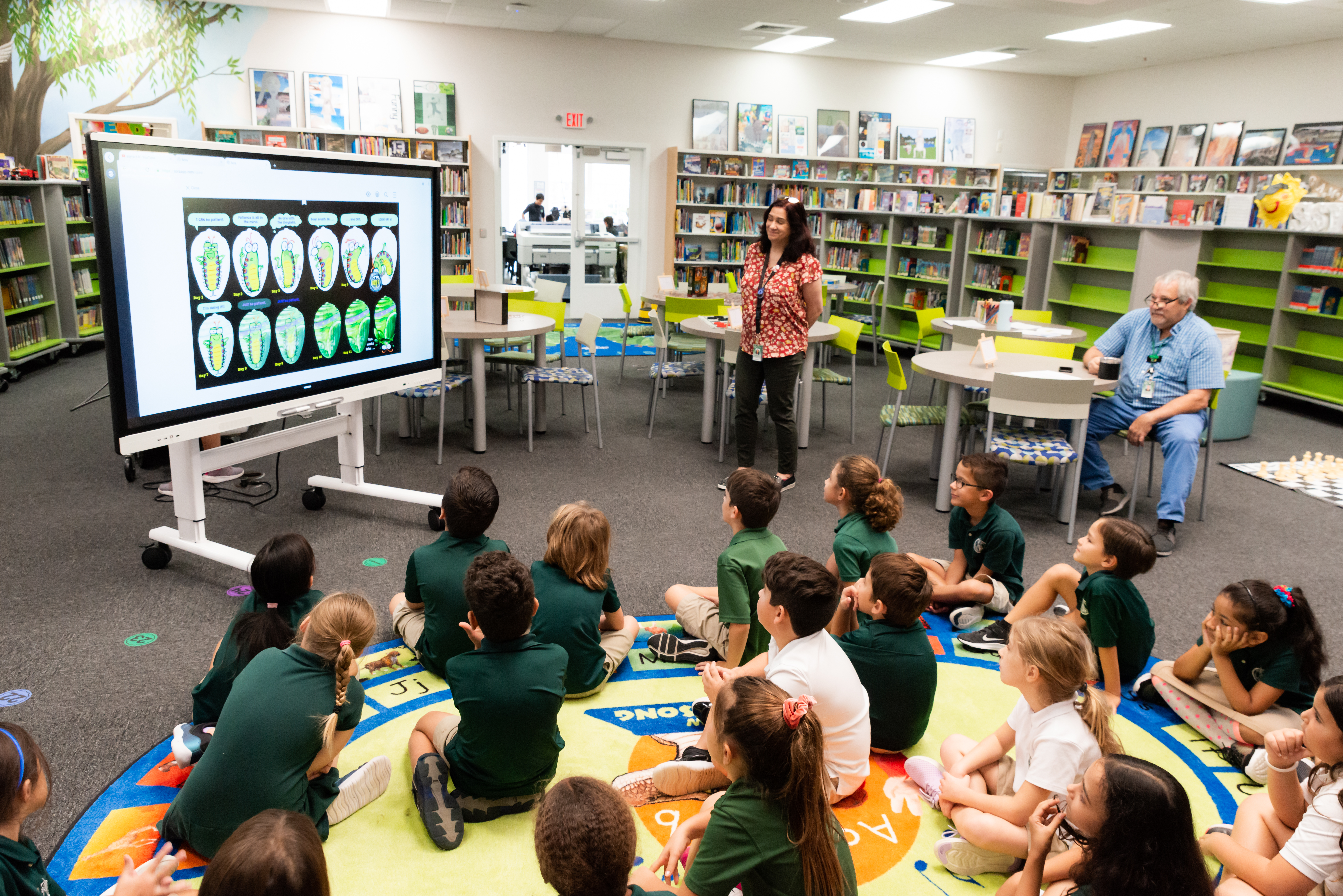 lower school students in the library